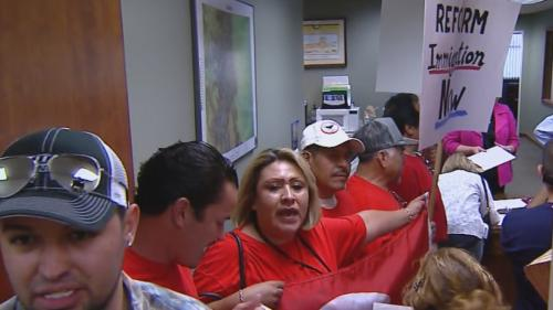 Immigration Reform Protesters Pack Rep. Gardner's Office