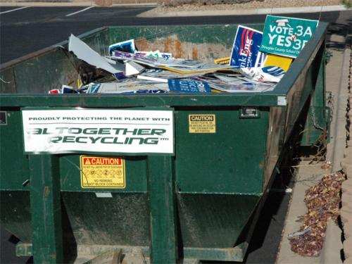Post-Election Yard Signs Yearning To Be Recycled
